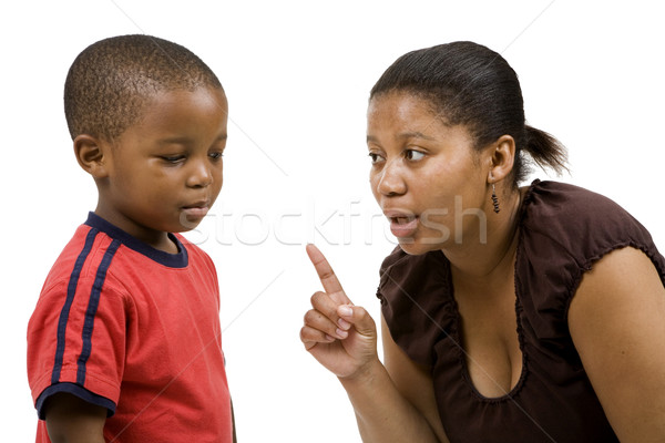 Disiplin anne aile kadın çocuk siyah Stok fotoğraf © danienel