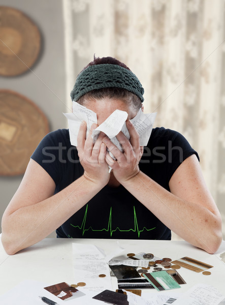 Caucasiano mulher doméstico ambiente cara financeiro Foto stock © danienel