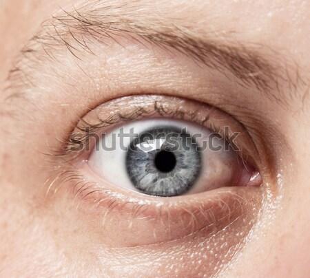 Ojo ver primer plano azul caucásico hombre Foto stock © danienel