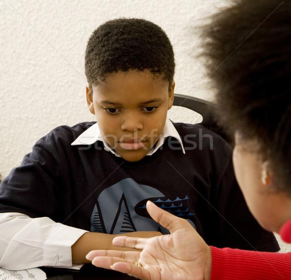 Anne disiplin kadın ev siyah genç Stok fotoğraf © danienel