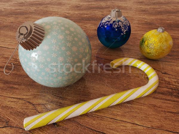 3d визуализации синий золото праздник украшение конфеты Сток-фото © danilo_vuletic