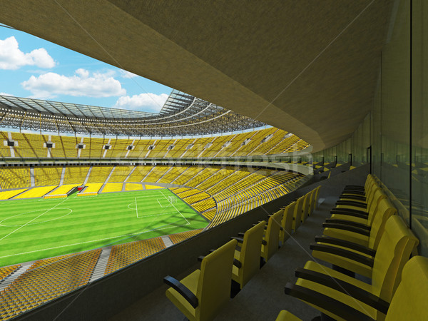 3D render of a round football -  soccer stadium with  yellow seats Stock photo © danilo_vuletic