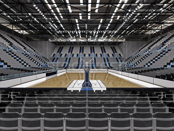 Beautiful sport arena for basketball with floodlights and grey chairs for ten thousand fans Stock photo © danilo_vuletic