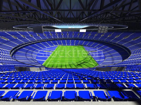 Stock fotó: 3d · render · rögbi · stadion · kék · vip · dobozok