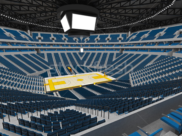 Beautiful modern sport arena for basketball with blue seats and yellow paint Stock photo © danilo_vuletic