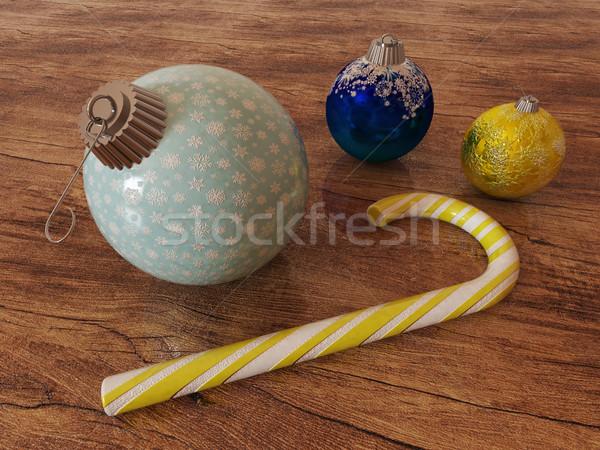 3dのレンダリング 青 金 休日 装飾 キャンディ ストックフォト © danilo_vuletic