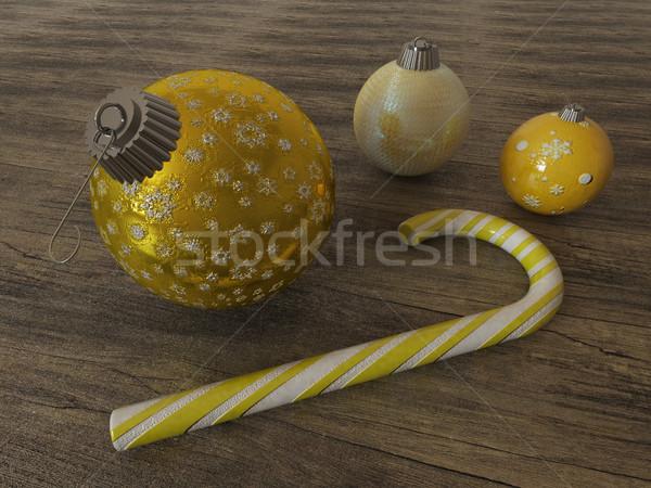 3d render Geel goud vakantie decoratie snoep Stockfoto © danilo_vuletic