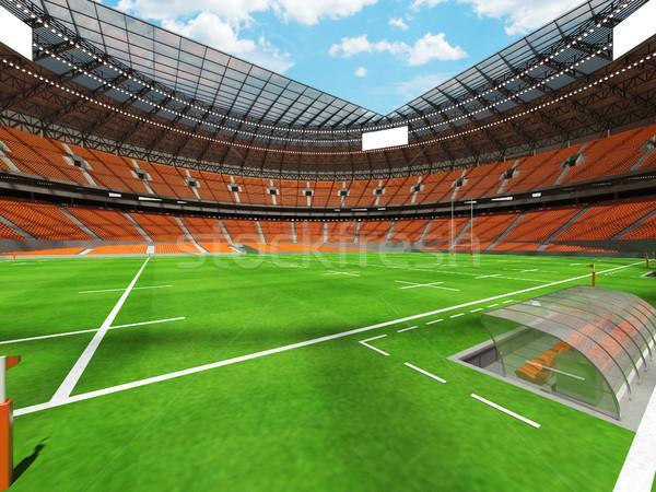 3dのレンダリング ラグビー スタジアム オレンジ vip ボックス ストックフォト © danilo_vuletic