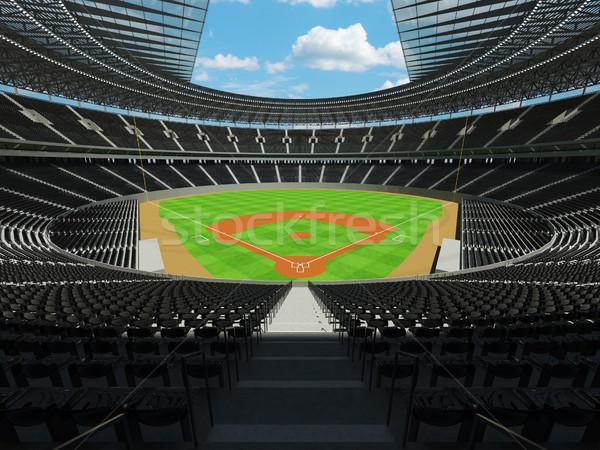 3d render baseball stadion fekete vip dobozok Stock fotó © danilo_vuletic