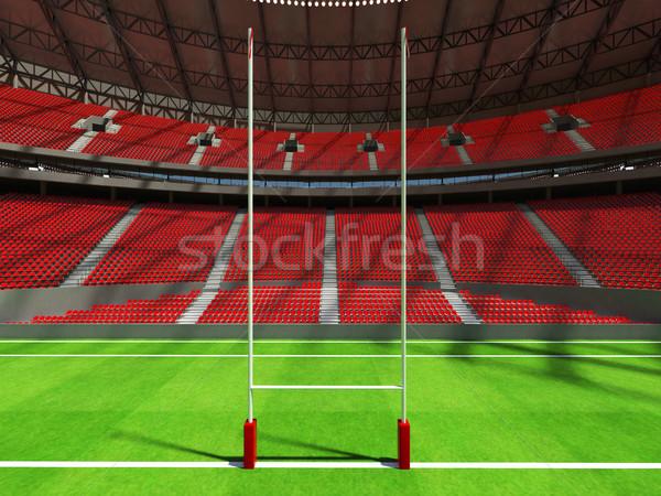 3d визуализации регби стадион красный vip коробки Сток-фото © danilo_vuletic