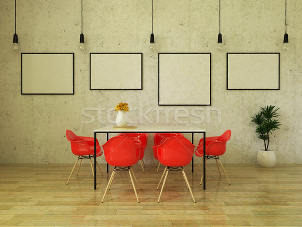 3D render of beautiful dining table with bright red chairs Stock photo © danilo_vuletic
