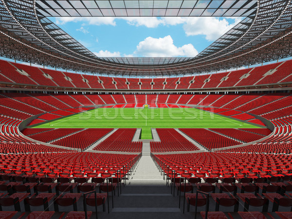 3D render of a round football -  soccer stadium with red seats Stock photo © danilo_vuletic