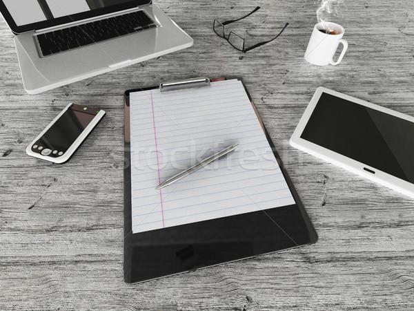 3dのレンダリング 成功した ビジネス コーヒー 携帯電話 ストックフォト © danilo_vuletic