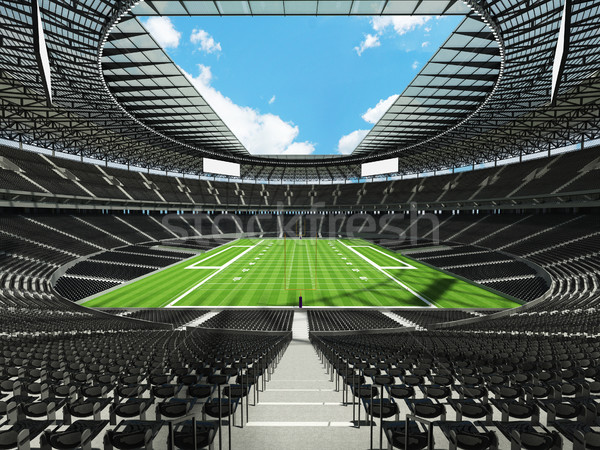 Round american football stadium with black seats for hundred thousand fans with VIP boxes Stock photo © danilo_vuletic