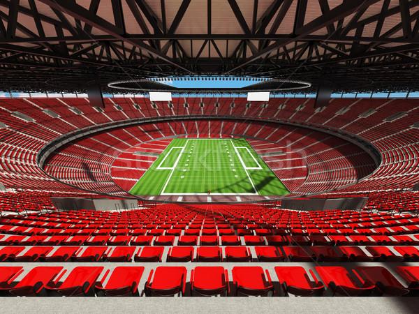 3d render amerikai futball stadion piros székek Stock fotó © danilo_vuletic