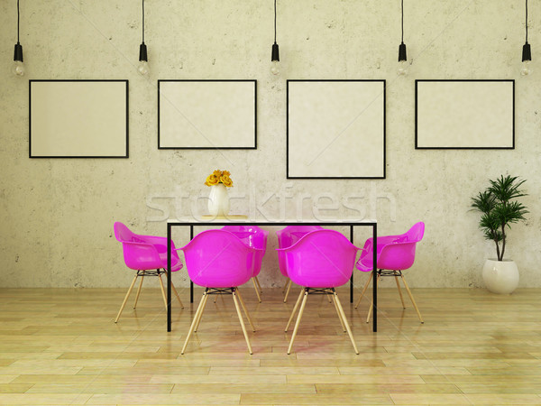3D render of beautiful dining table with pink chairs Stock photo © danilo_vuletic