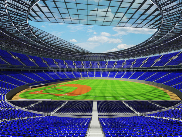 3D render of baseball stadium with blue seats and VIP boxes Stock photo © danilo_vuletic