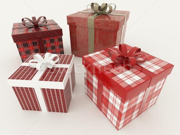 Stock fotó: 3d · render · piros · fehér · ünnep · ajándékok · szalagok