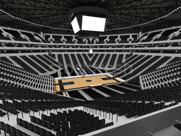 Beautiful modern sport arena for basketball with black seats Stock photo © danilo_vuletic