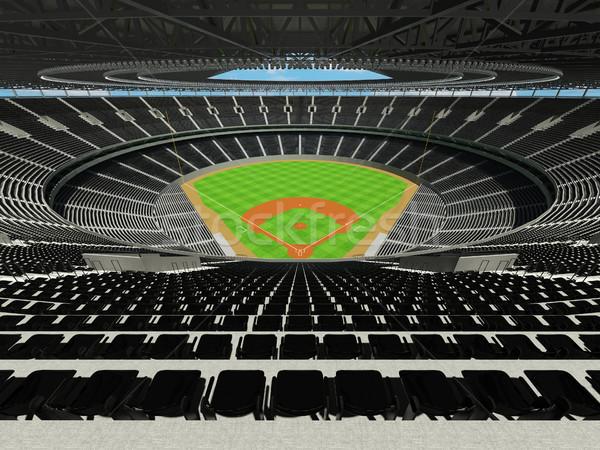 Stock fotó: 3d · render · baseball · stadion · fekete · vip · dobozok