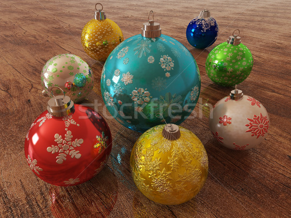 3D render of multicolour holiday decoration baubles on wooden surface Stock photo © danilo_vuletic