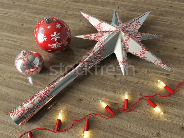 3d render ezüst csillag golyók karácsony dekoráció Stock fotó © danilo_vuletic