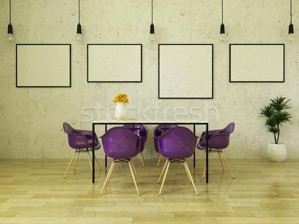 3d render mooie eettafel paars stoelen Stockfoto © danilo_vuletic