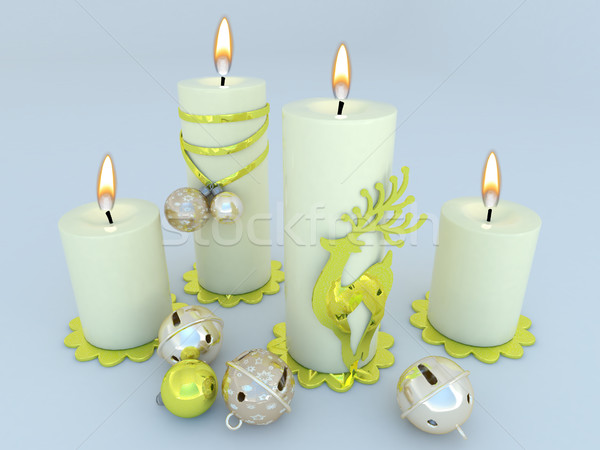 3d render witte kaarsen christmas decoraties goud Stockfoto © danilo_vuletic