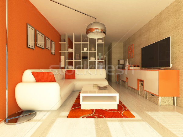 Beautiful interior of living room with orange walls and ...