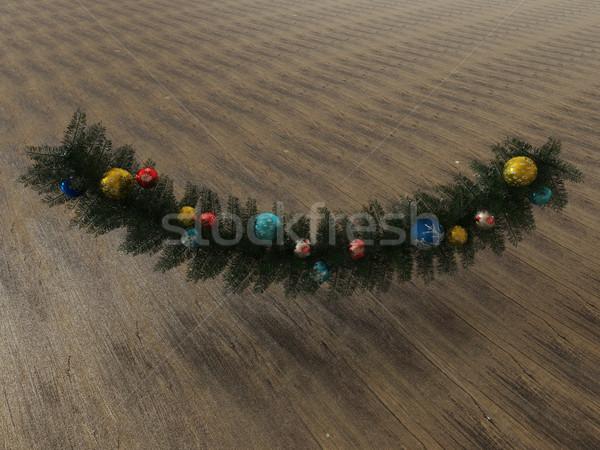 3dのレンダリング 美しい 休日 装飾 花輪 木製 ストックフォト © danilo_vuletic