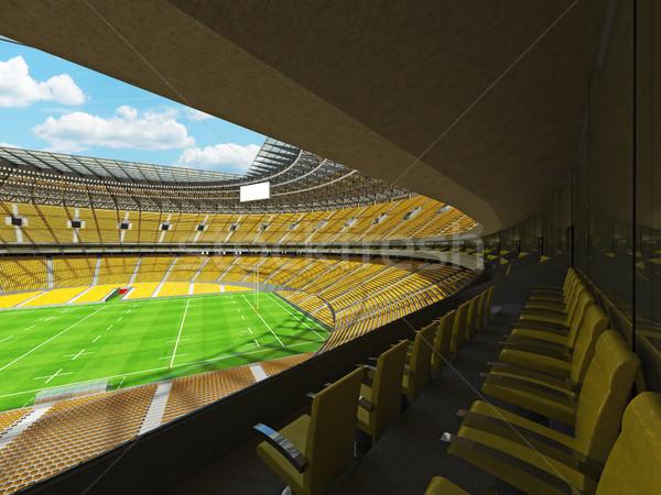 Rendering 3d rugby stadio giallo vip scatole Foto d'archivio © danilo_vuletic