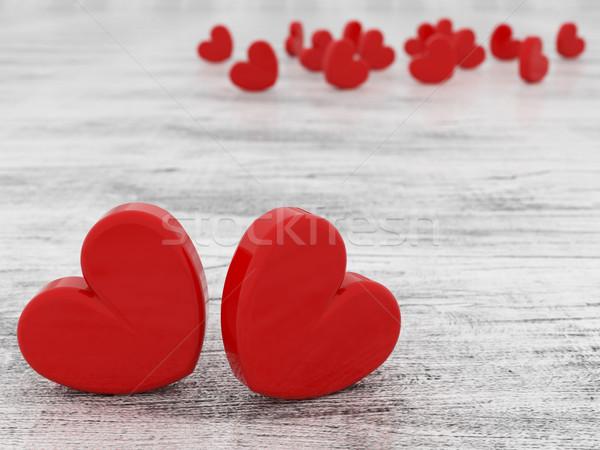 красивой романтические красный сердцах Сток-фото © danilo_vuletic