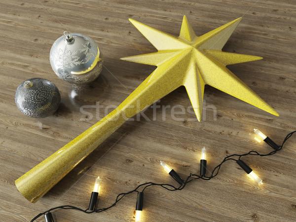 3d визуализации золото звездой Рождества украшение Сток-фото © danilo_vuletic