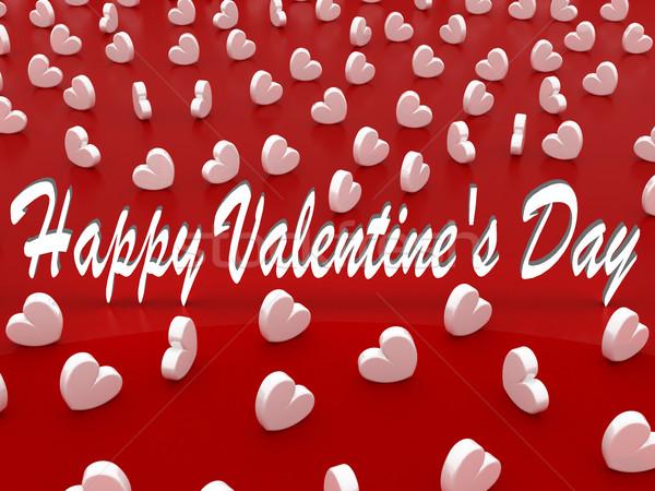 Gyönyörű romantikus valentin nap üdvözlőlap fehér szívek Stock fotó © danilo_vuletic