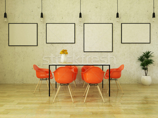 3D render of beautiful dining table with orange chairs Stock photo © danilo_vuletic