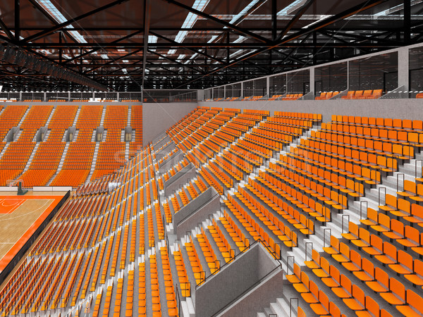Beautiful modern sports arena for basketball with orange chairs and VIP boxes  Stock photo © danilo_vuletic