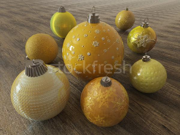 3d визуализации желтый золото праздник украшение Сток-фото © danilo_vuletic
