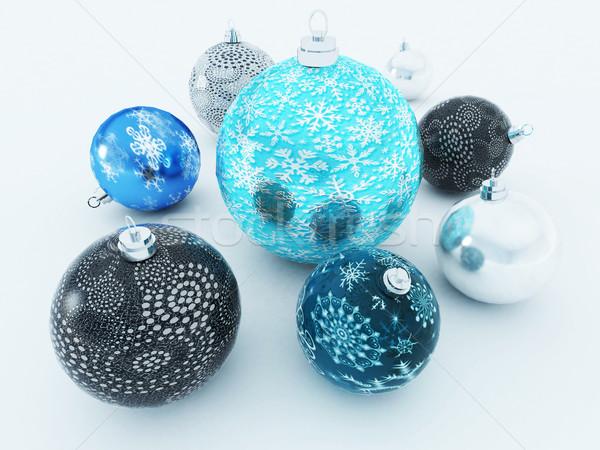 3d render gyönyörű kék feketefehér ünnep díszítések Stock fotó © danilo_vuletic
