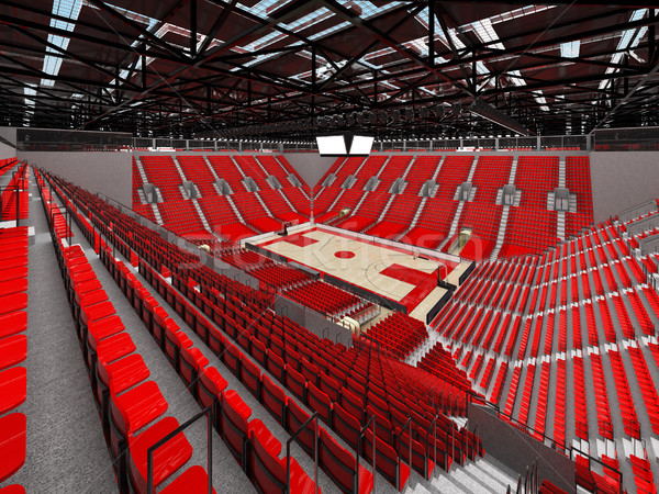 Beautiful modern arena for basketball with floodlights and red seats and VIP boxes Stock photo © danilo_vuletic