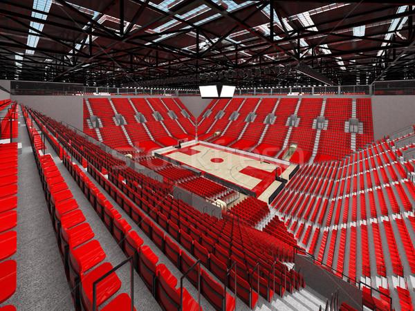 3dのレンダリング 美しい スポーツ アリーナ バスケットボール 赤 ストックフォト © danilo_vuletic