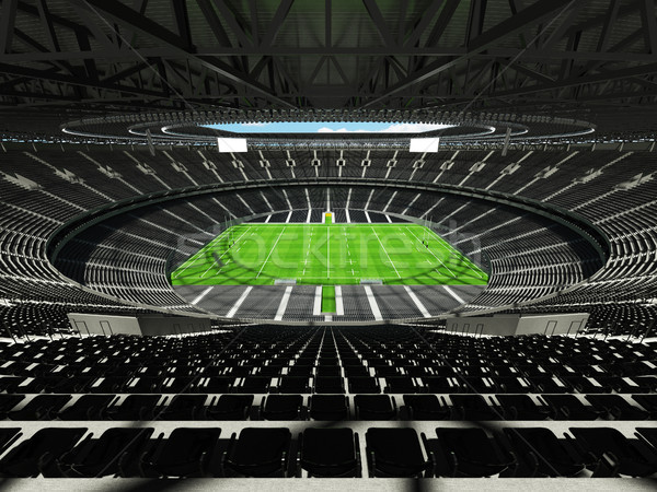 3d render rögbi stadion fekete vip doboz Stock fotó © danilo_vuletic