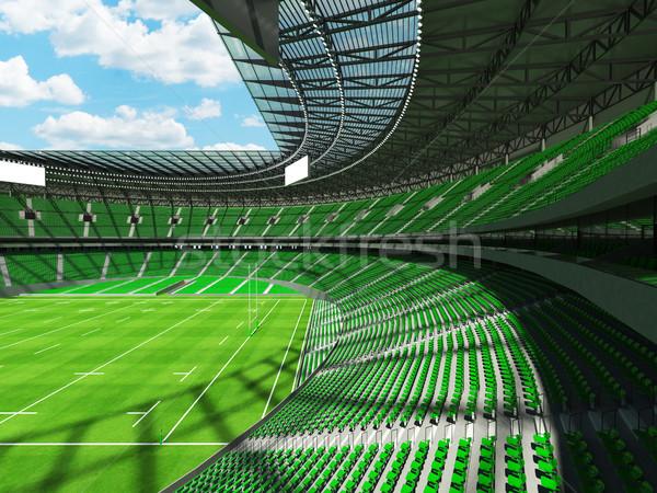 Stock fotó: 3d · render · rögbi · stadion · zöld · vip · doboz