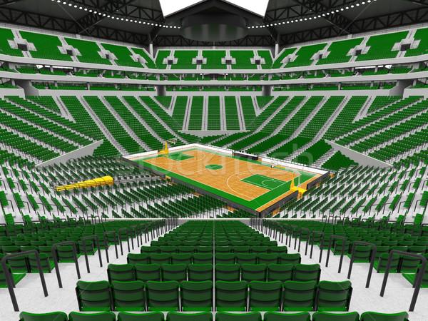 Gyönyörű modern sport aréna kosárlabda zöld Stock fotó © danilo_vuletic