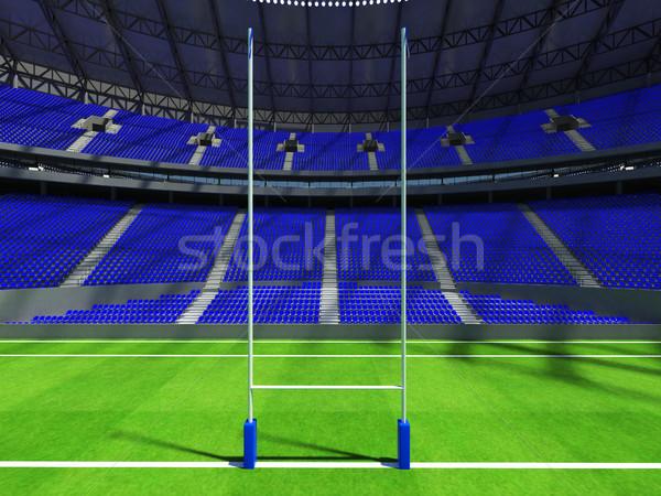 3d render rugby estádio azul vip caixas Foto stock © danilo_vuletic