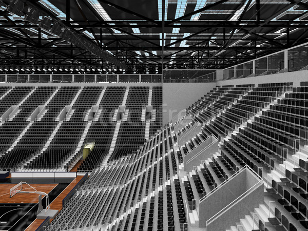 Stock fotó: 3d · render · gyönyörű · sportok · aréna · kosárlabda · fekete