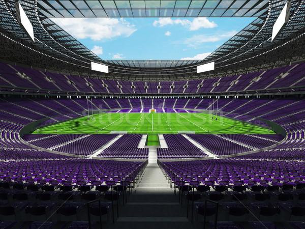 3d render rögbi stadion lila vip doboz Stock fotó © danilo_vuletic