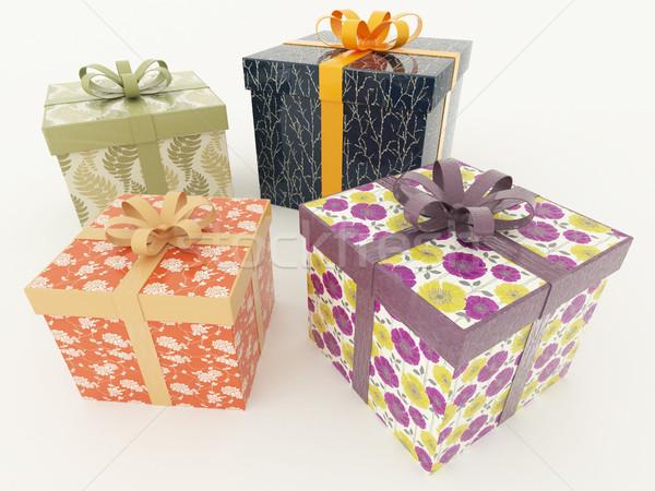 3d визуализации праздник представляет белый подарки Сток-фото © danilo_vuletic