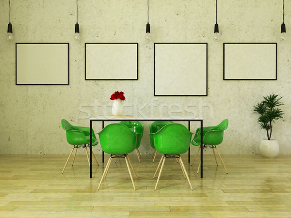 3D render of beautiful dining table with green chairs Stock photo © danilo_vuletic