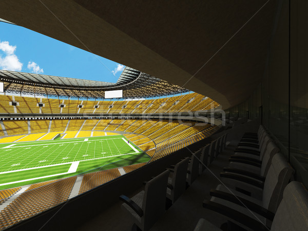 Round american football stadium with yellow seats and VIP boxes for hundred thousand fans Stock photo © danilo_vuletic