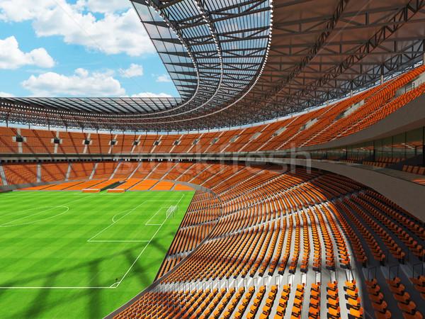 Stock fotó: 3d · render · futball · futball · stadion · narancs · vip